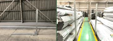 大和鋼管の製品置場に於ける安全/安心への取組。