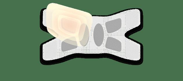 Illustration einer ThermaCare® Wärmeauflage für flexible Anwendung mit farblich hervorgehobener Wärmezelle