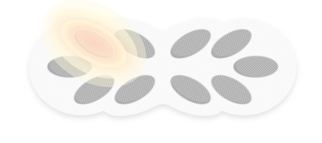 Illustration einer ThermaCare® Wärmeauflage bei Regelschmerzen mit farblich hervorgehobener Wärmezelle
