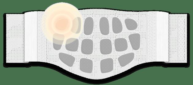 Illustration: ThermaCare® Waermeumschlag gegen Rueckenschmerzen mit rot hervorgehobener Waermezelle