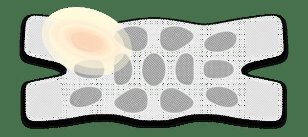 Illustration: ThermaCare® Wärmeauflage für größere Schmerzbereiche mit farblicher Hervorhebung einer Wärmekammer