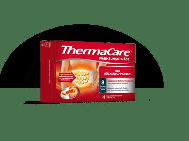 Produktbild der vierer Vorteilspackung der ThermaCare® Rückenumschläge