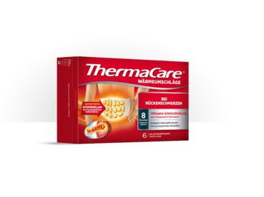 Produktbild der sechser Vorteilspackung der ThermaCare® Rückenumschläge