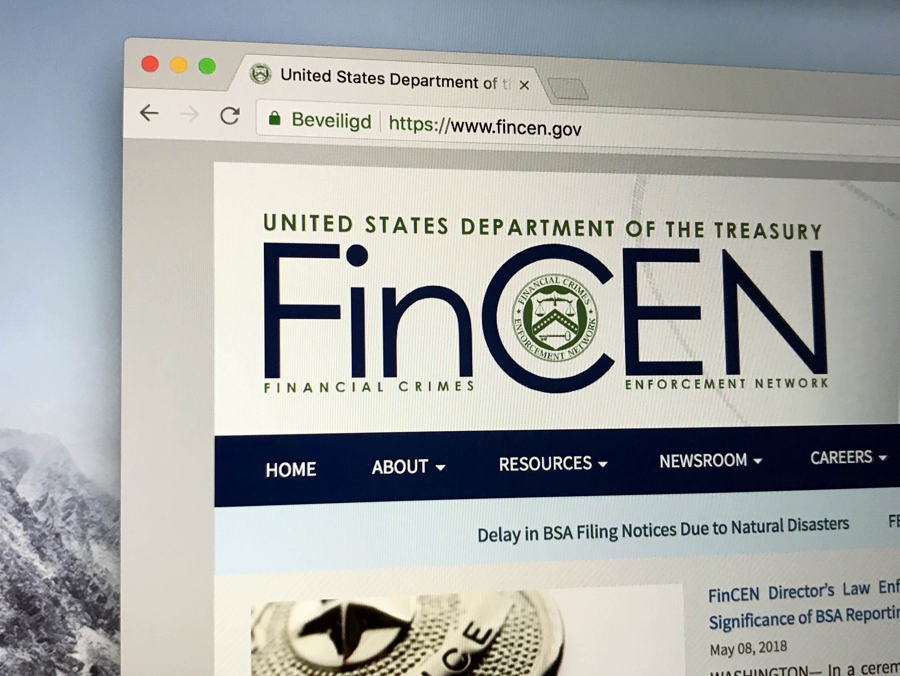 finCEN dept of treasury website URL