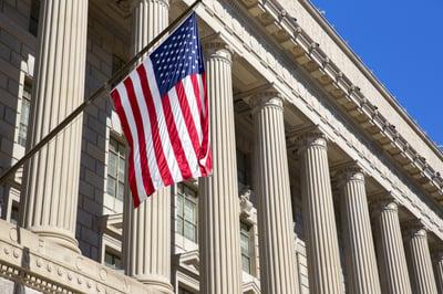 american flag dept commerce building