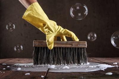 scrub glove brush bubbles
