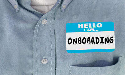 hello onboarding name tag button up shirt