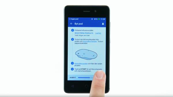 Omnipod DASH video föra in podens kanyl