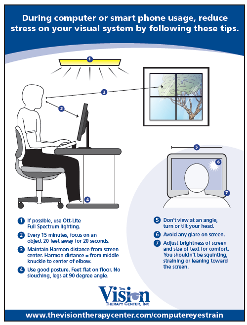 how to avoid eye strain while working at a computer