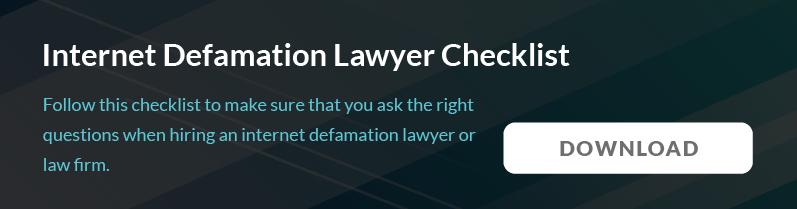 Internet Defamation Lawyer checklist
