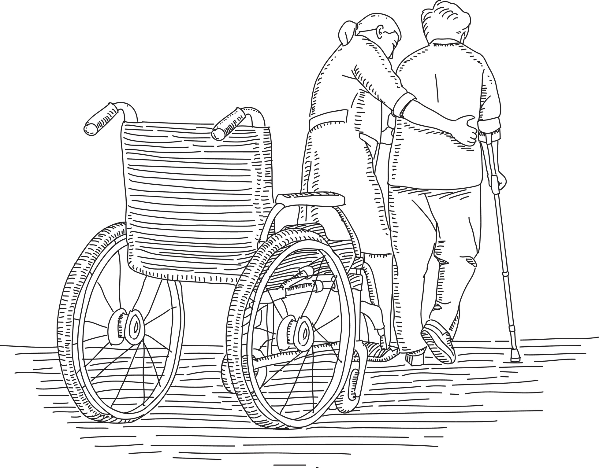 Drawing of a caregiver helping an elder out of wheelchair
