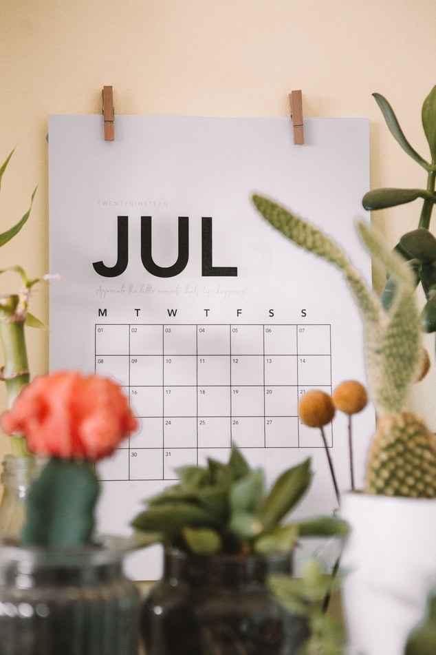 Calendar featuring the month July 2021