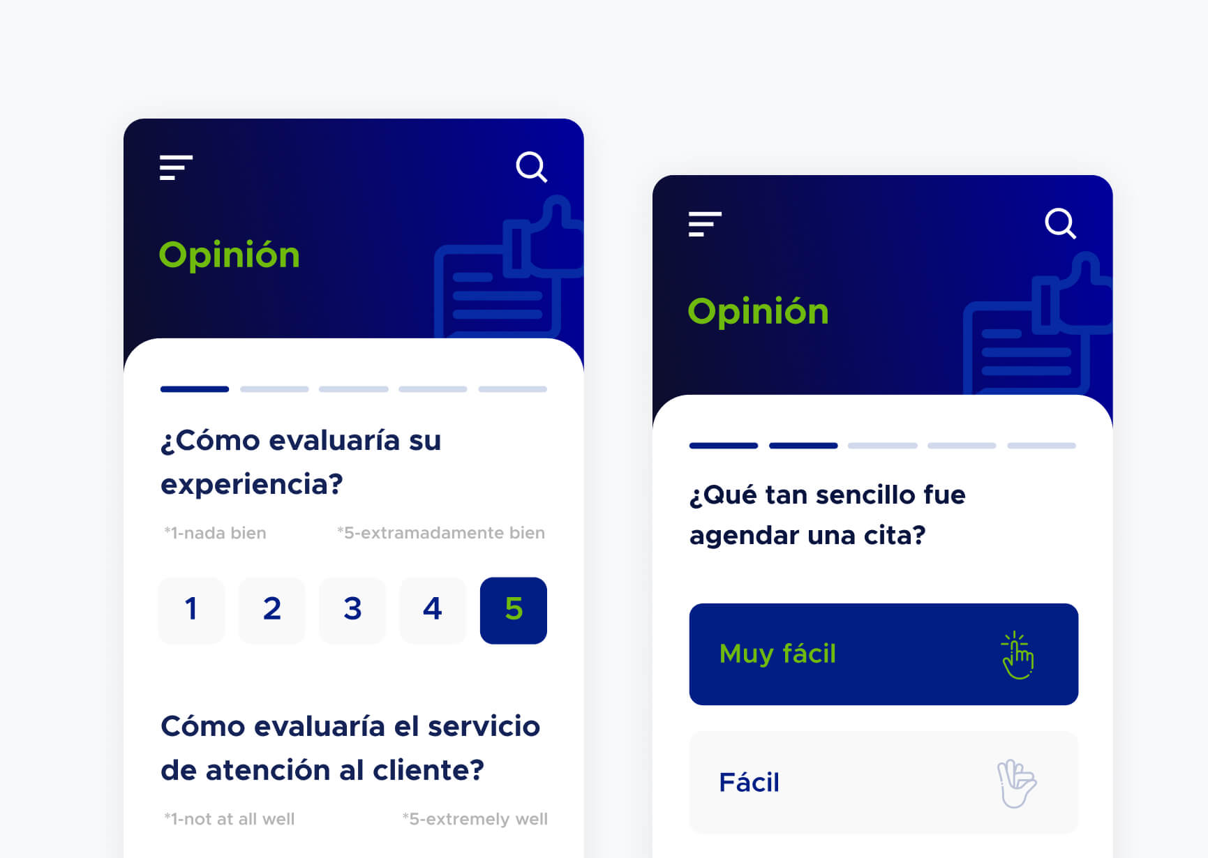 Encuesta a clientes sobre experiencia del uso de la aplicación
