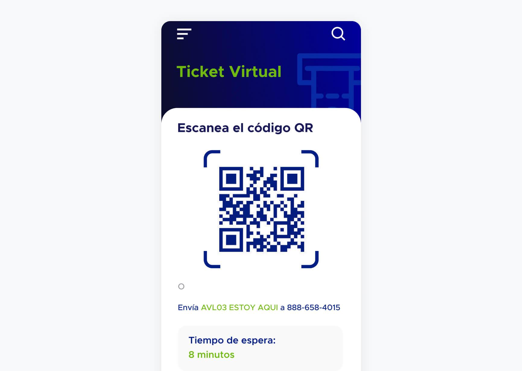 Pantalla de ticket virtual con un código QR