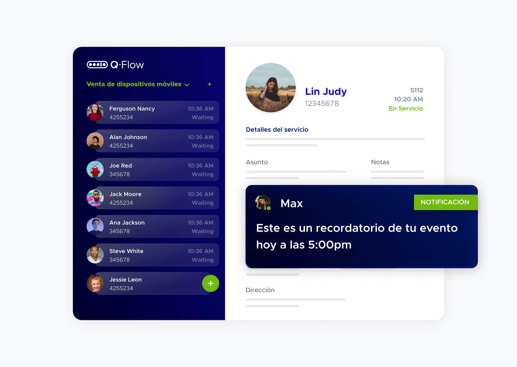 Simulación de notificación a Max en la plataforma Q-Flow