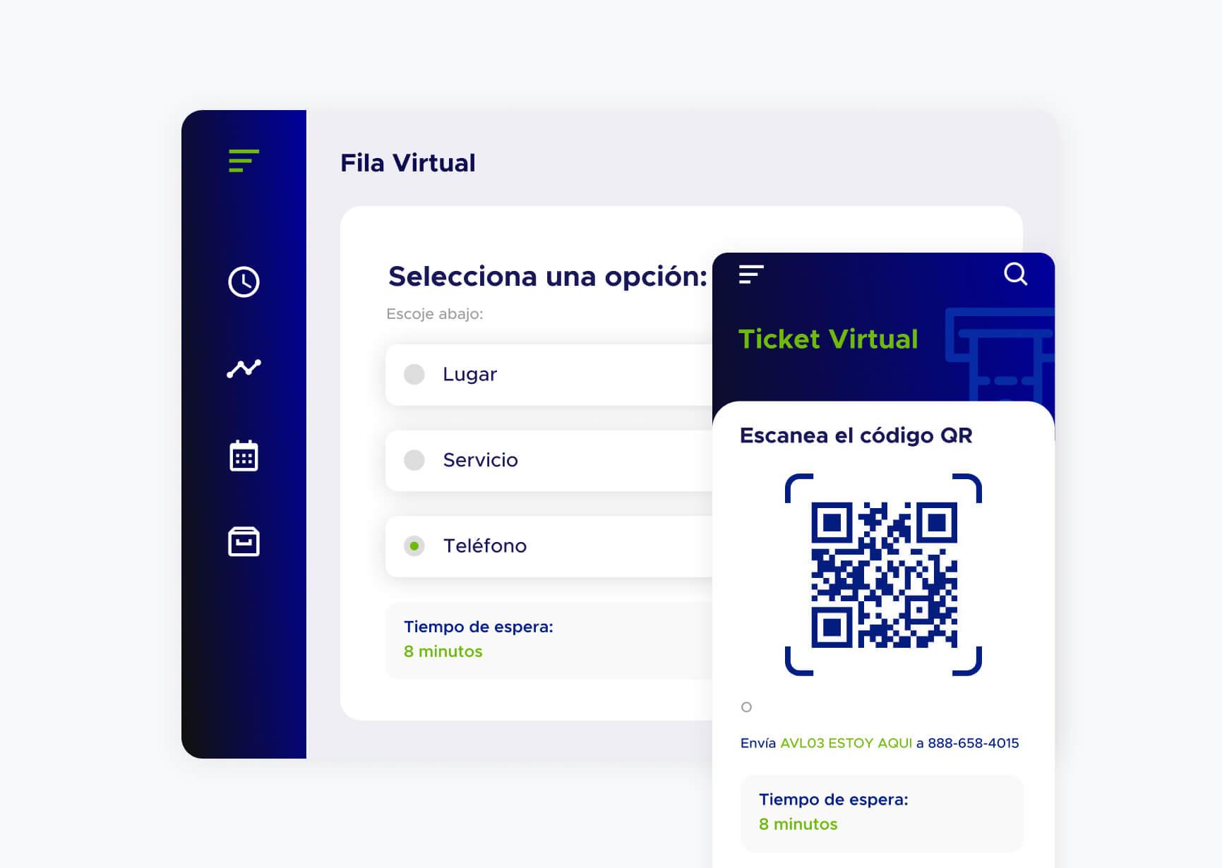 Vista de la aplicación de Fila virtual de ACF Technologies