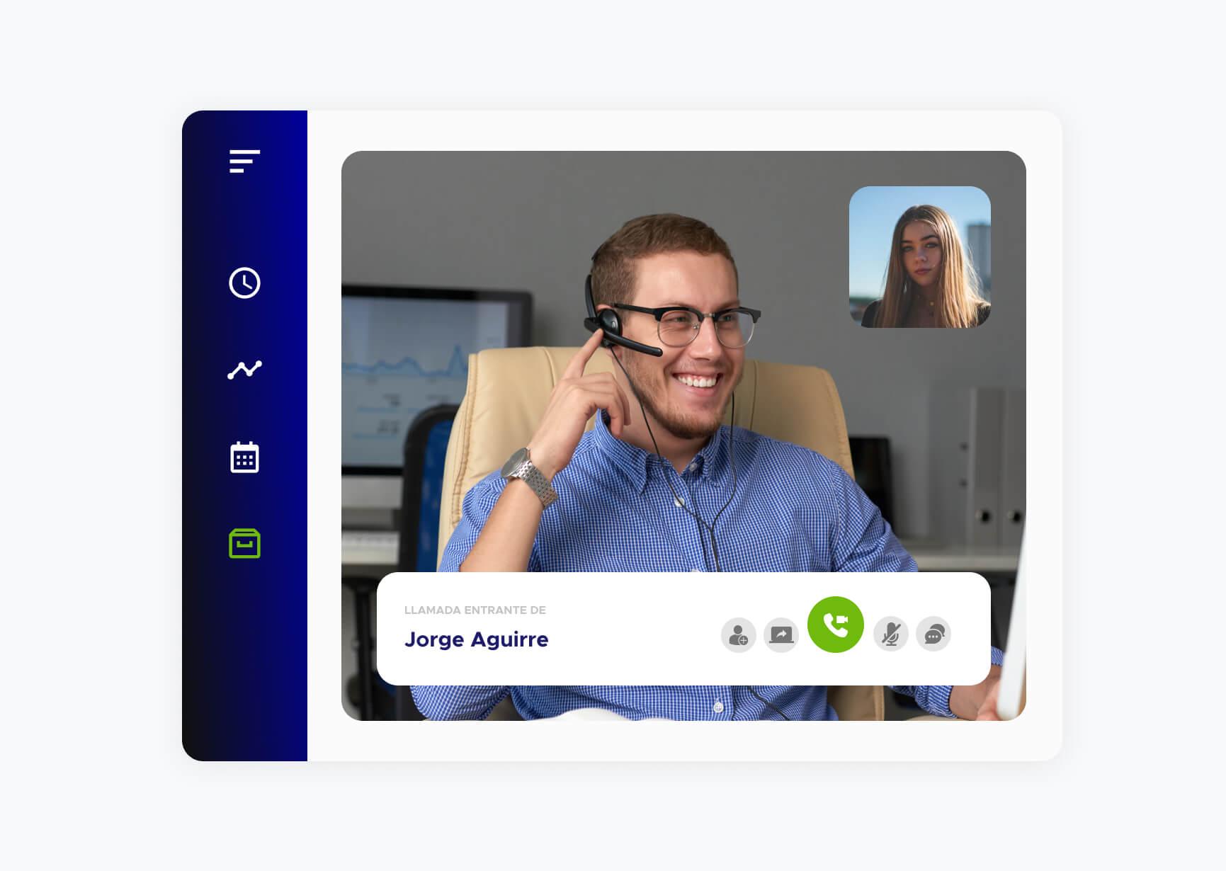 Video llamada entrante de Jorge Aguirre utilizando la aplicación de ACF Technologies