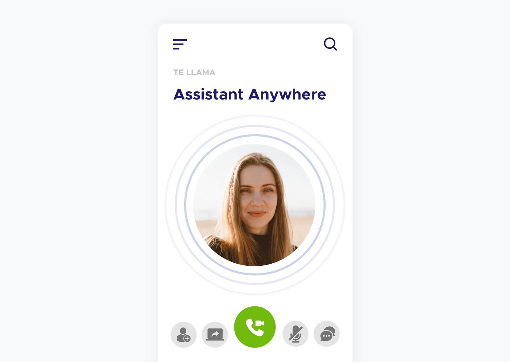Simulación de una video llamada de la aplicación Assistant Anywhere