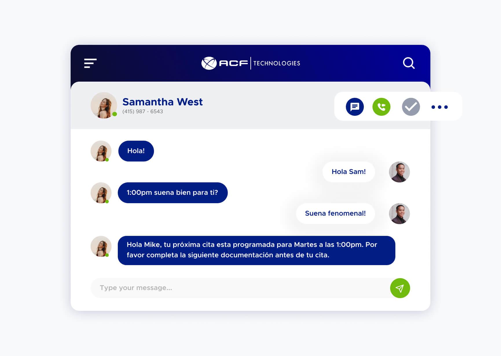 Simulación de un chat utilizando la plataforma de ACF Technologies