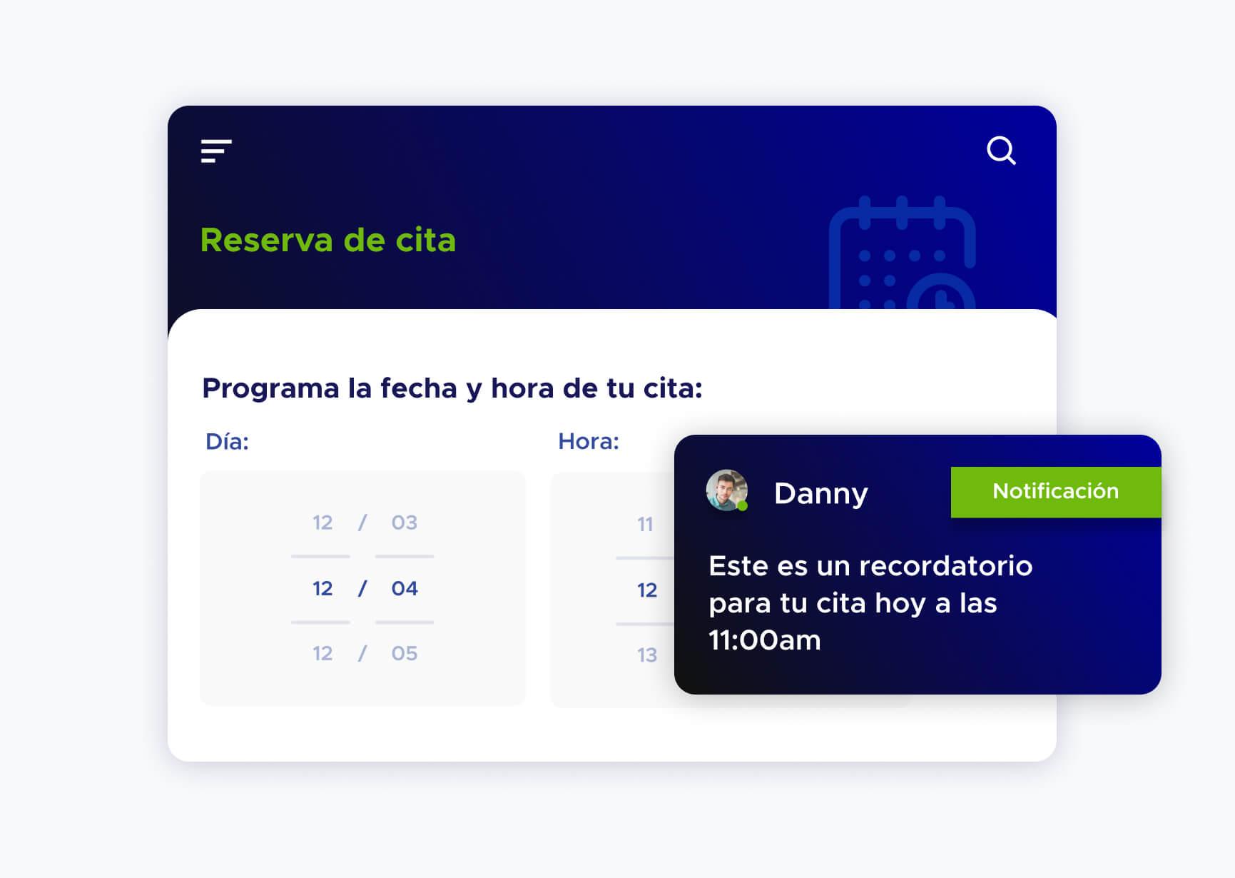 Simulación de reserva de cita y notificación de una reserva de cita para el día de hoy para Danny