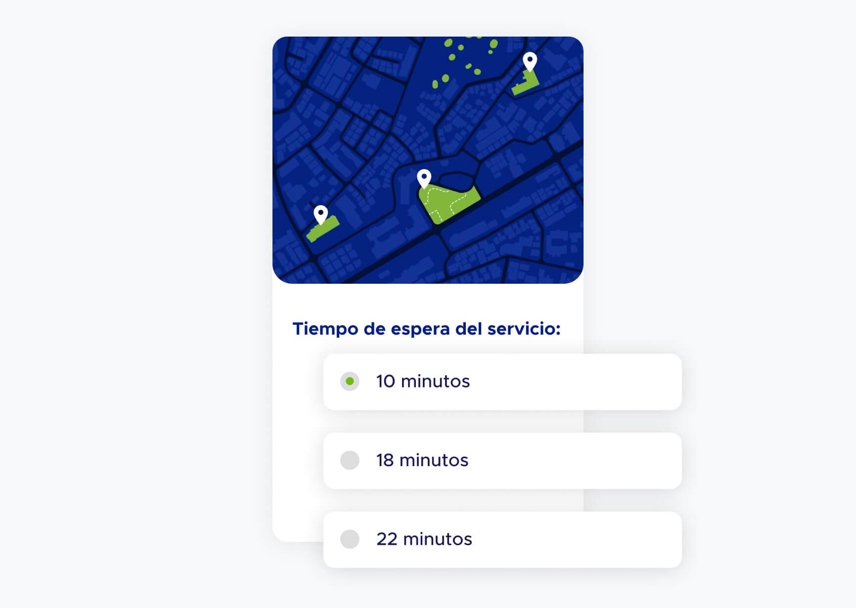 Pantalla de ticket virtual con tiempos de atención de lugares cercanos