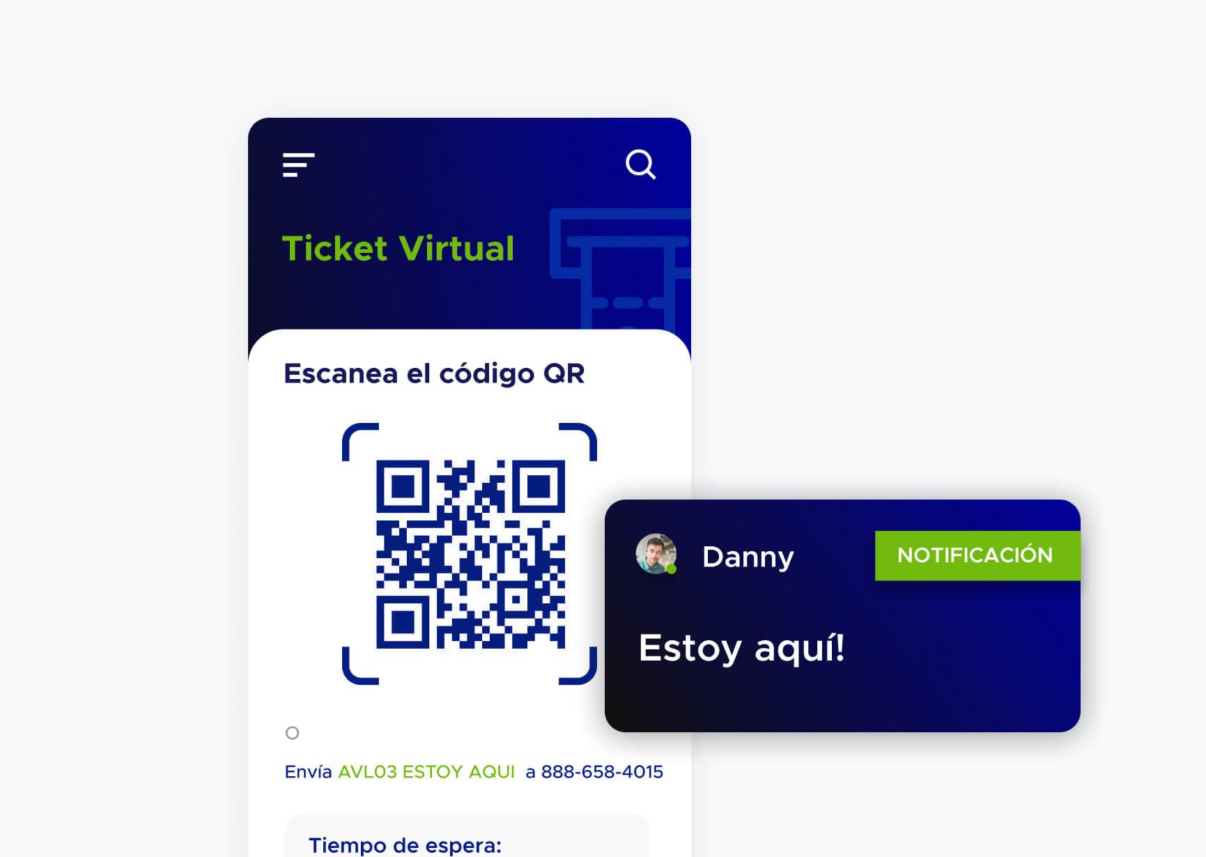 Pantalla de aplicación de ACF Technologies con un ticket virtual con un código QR y una notificación para el usuario
