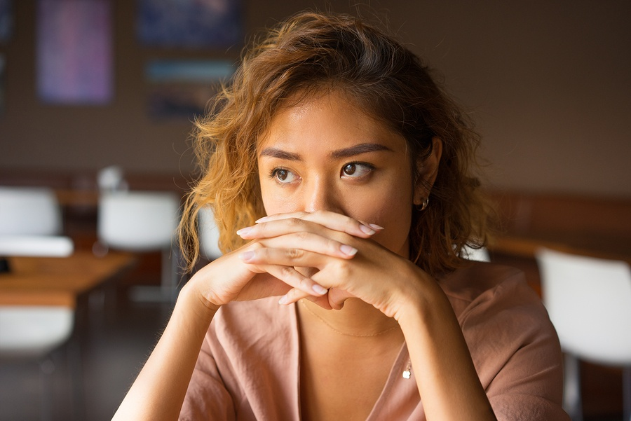 BS Stress Asian Women Quiet and pensive