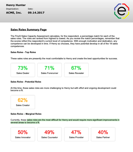 Sales Capacity Assessment Sales Roles Summary Page
