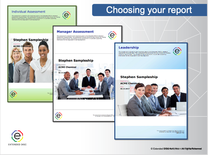 Choosing DISC Reports Individual, Manager, Leadershership Assessments