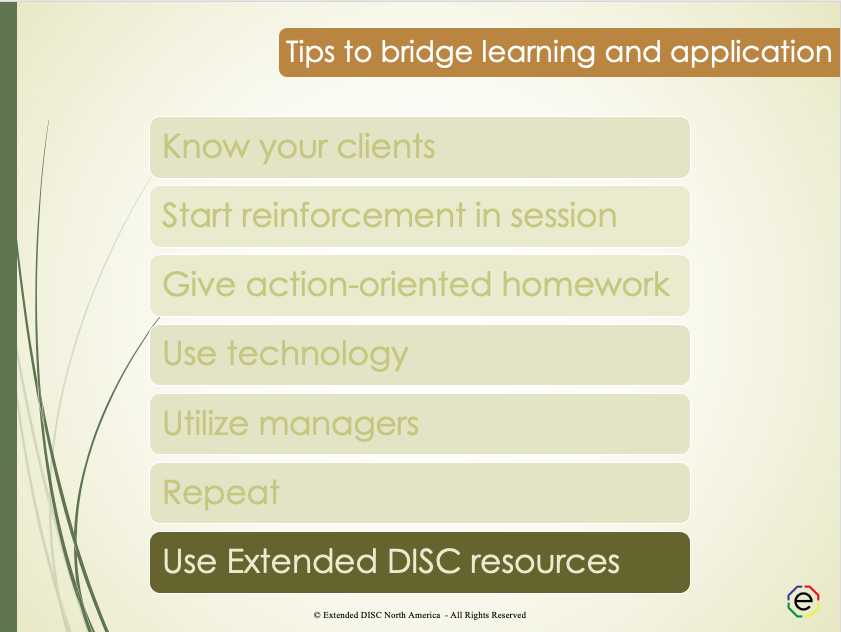 Use reinforcement workbooks and resources tips slide