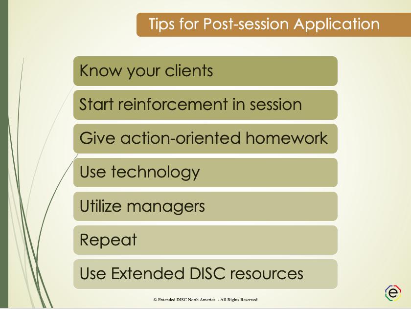 Tips for Post-DISC Session Application Slide