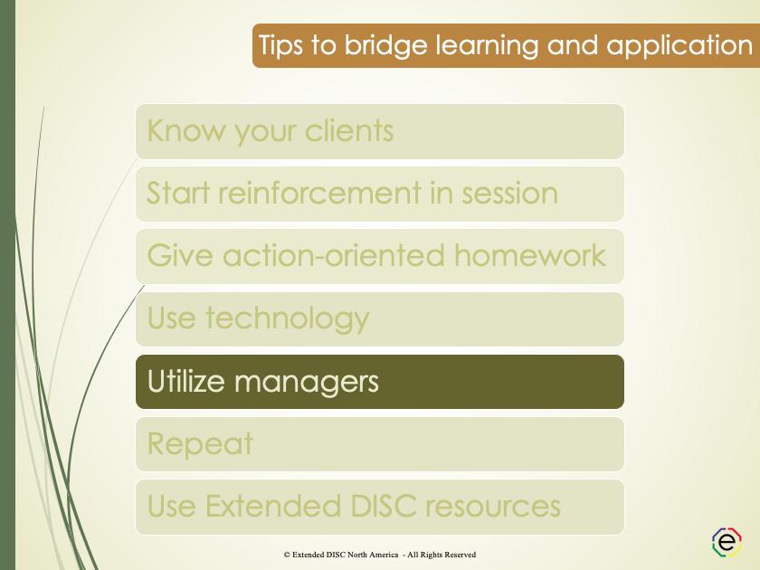 Utilize managers tips slide