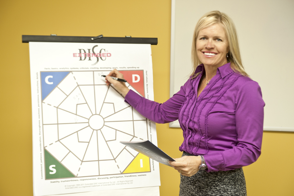 Extended DISC Facilitator Trainer in front of  DISC Diamond Chartpad