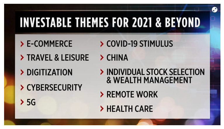 Screen shot from a CNBC story about the top investment themes of 2021