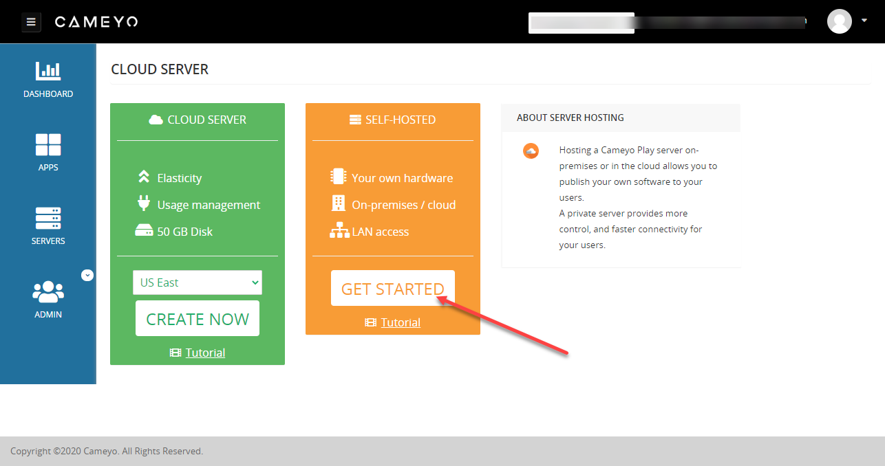 Cameyo Dashboard How to Add Servers