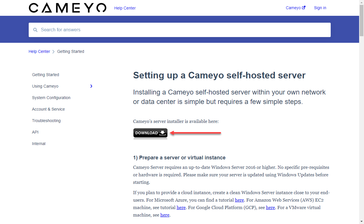Download page to install Cameyo