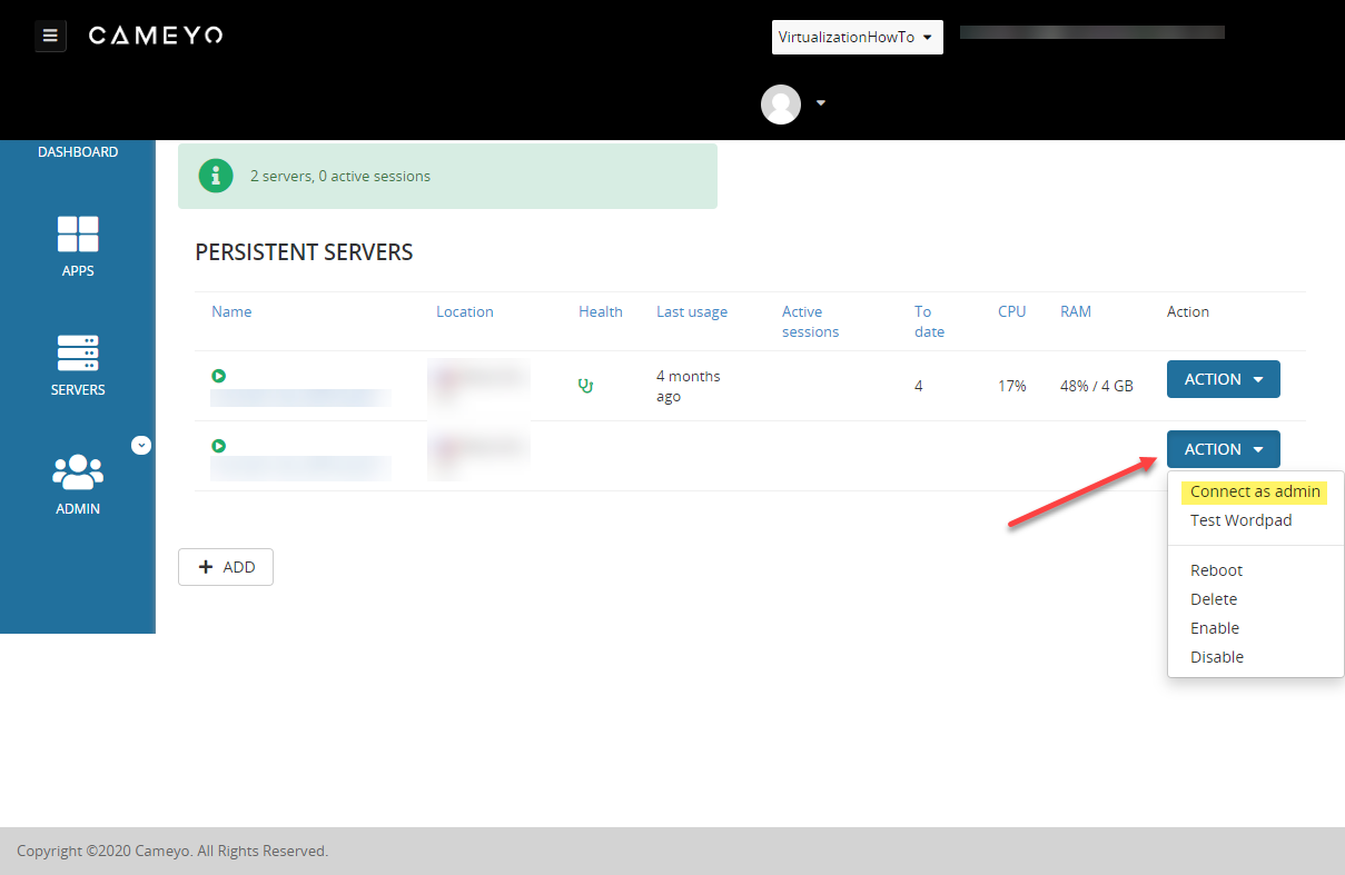 Cameyo dashboard showing how to add an admin