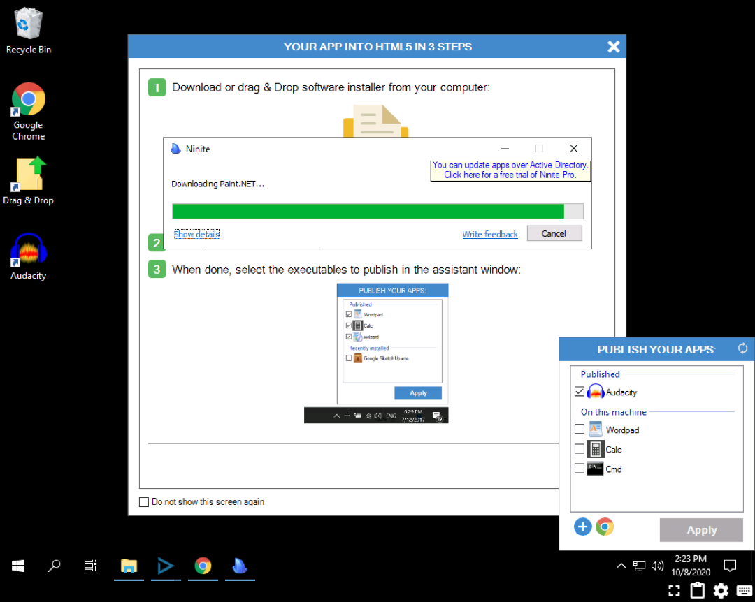 Showing the install of an app on a Cameyo server