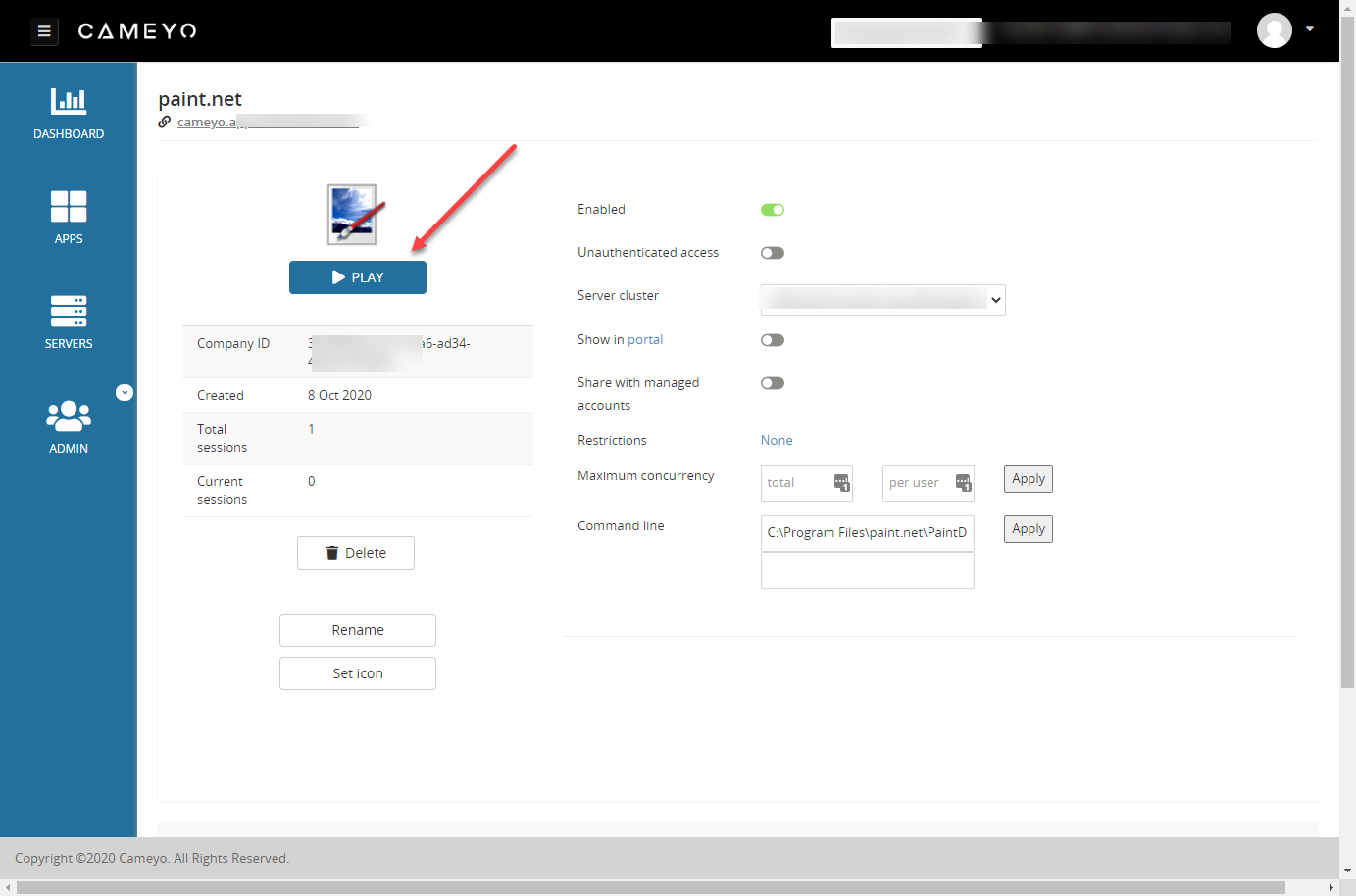 Showing a published app in the Cameyo portal