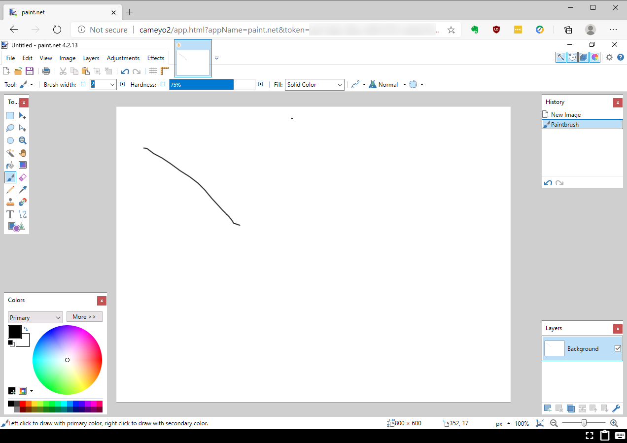 Showing Paint.net working in a Cameyo portal