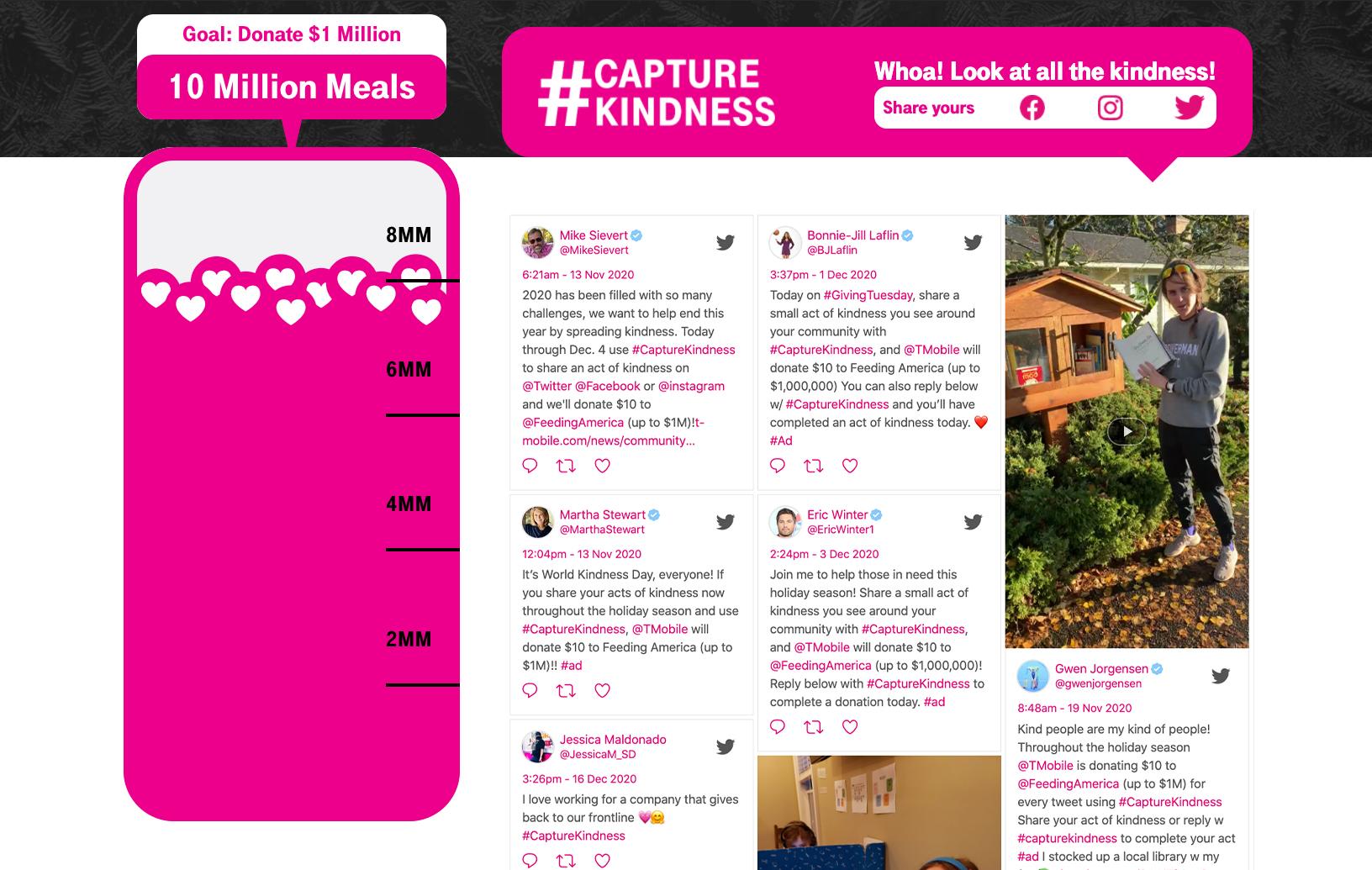 T-Mobile #CaptureKindness Website Display