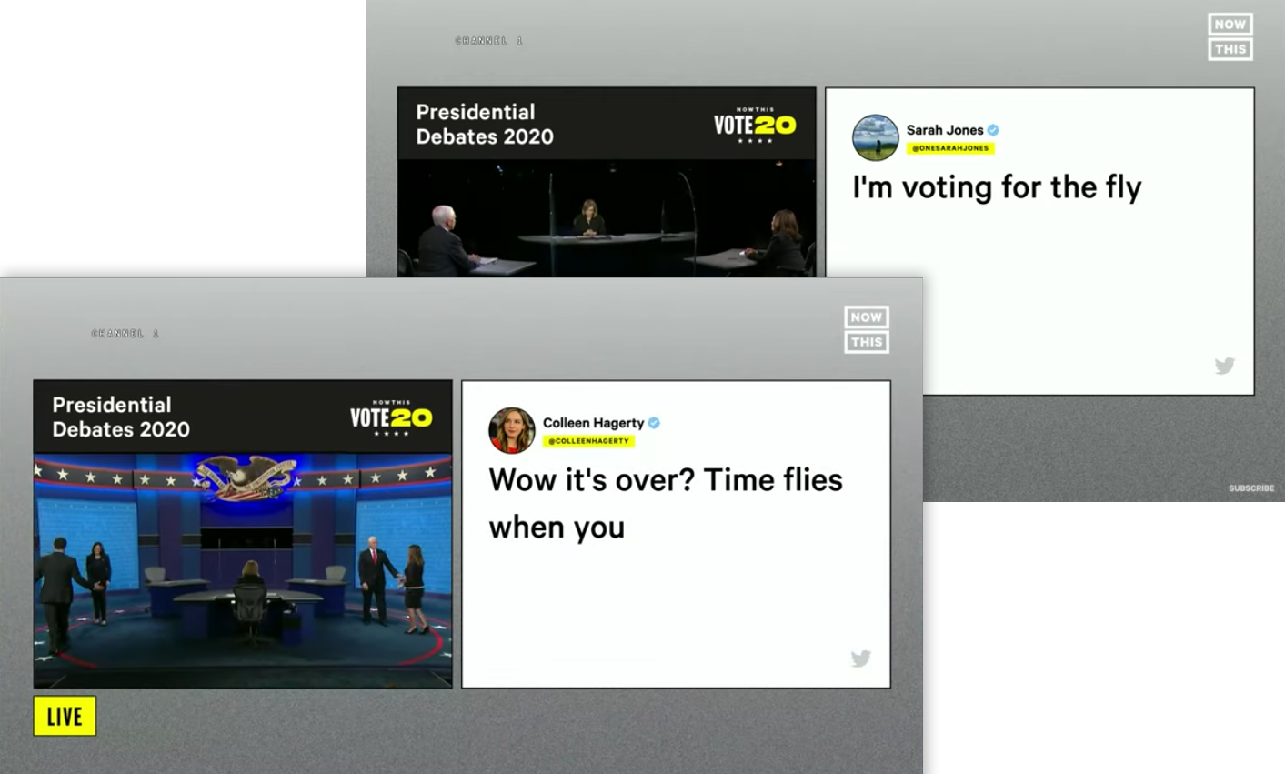 """VP Debate Live social reactions to """"The Fly"""" Produced with Tagboard"""