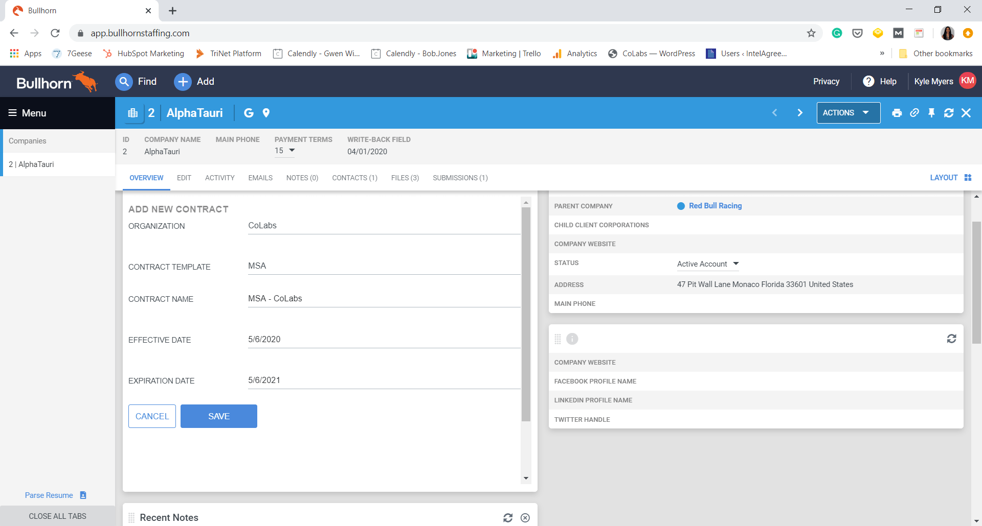 Bullhorn IntelAgree screenshot create contract