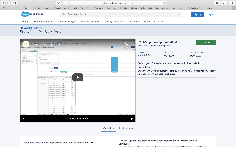 Snowflake on Salesforce AppExchange