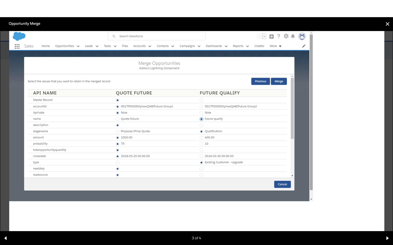 Opportunity merge Salesforce