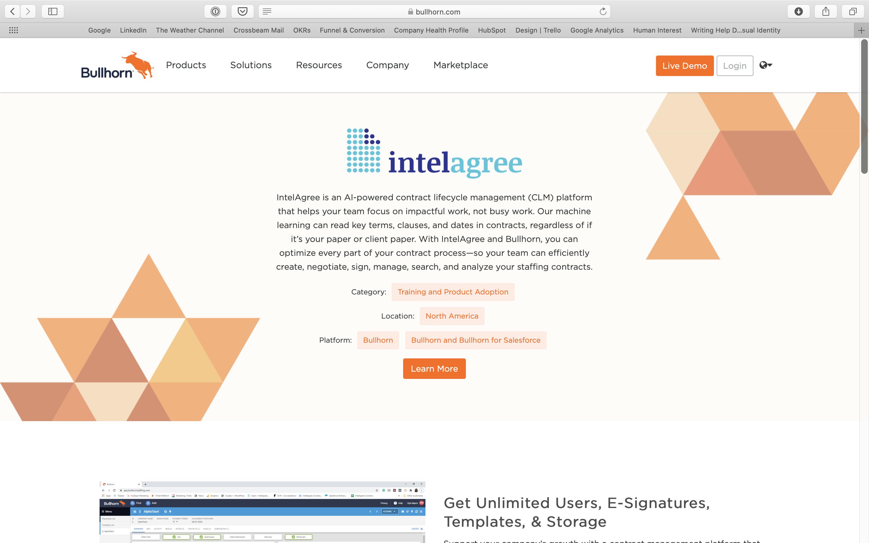 IntelAgree Bullhorn Partner Page