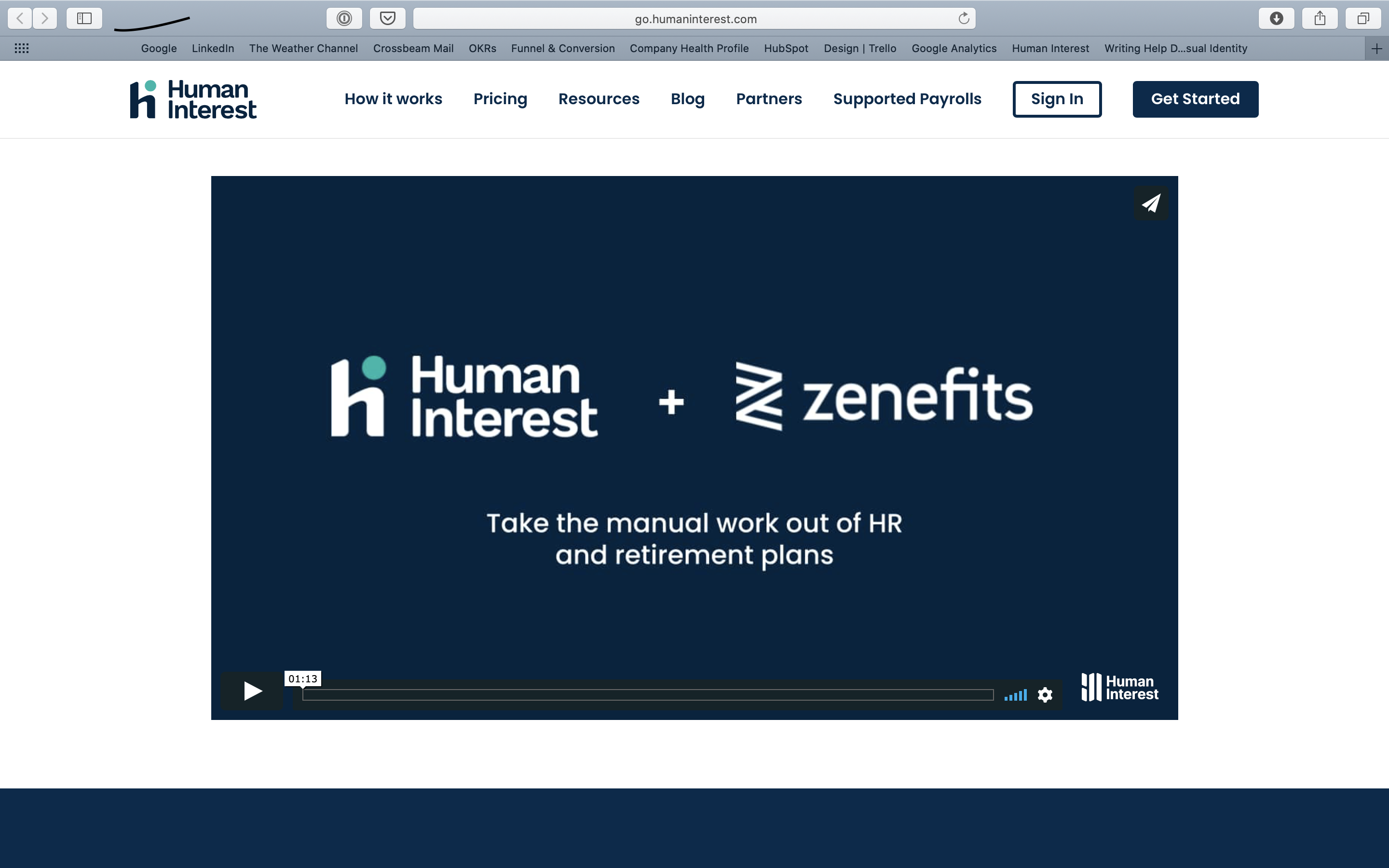 Zenefits and Human Interest partner page