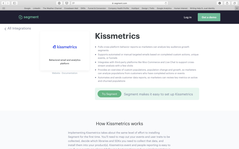 Segment Kissmetrics partner page