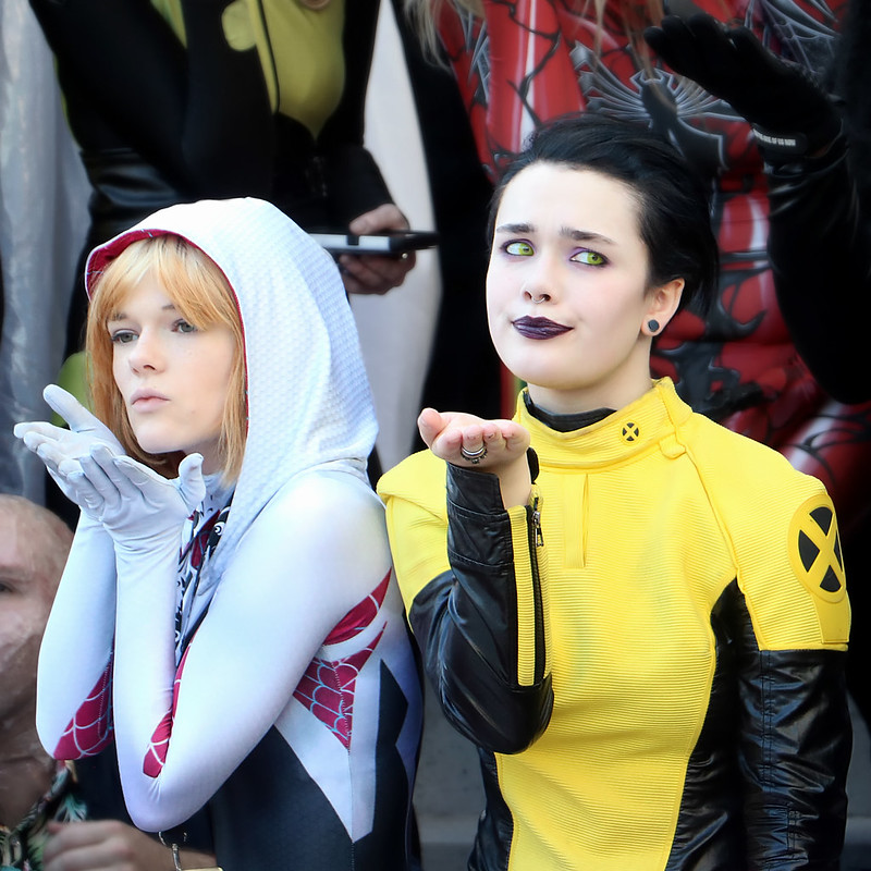 cosplayers in colored contact lenses