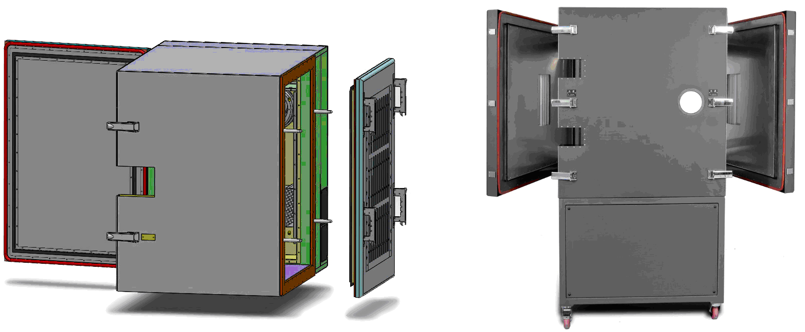 Figure 6. Combination hinged and removable door (left). Multiple hinged doors – opposing or adjacent sides (right).